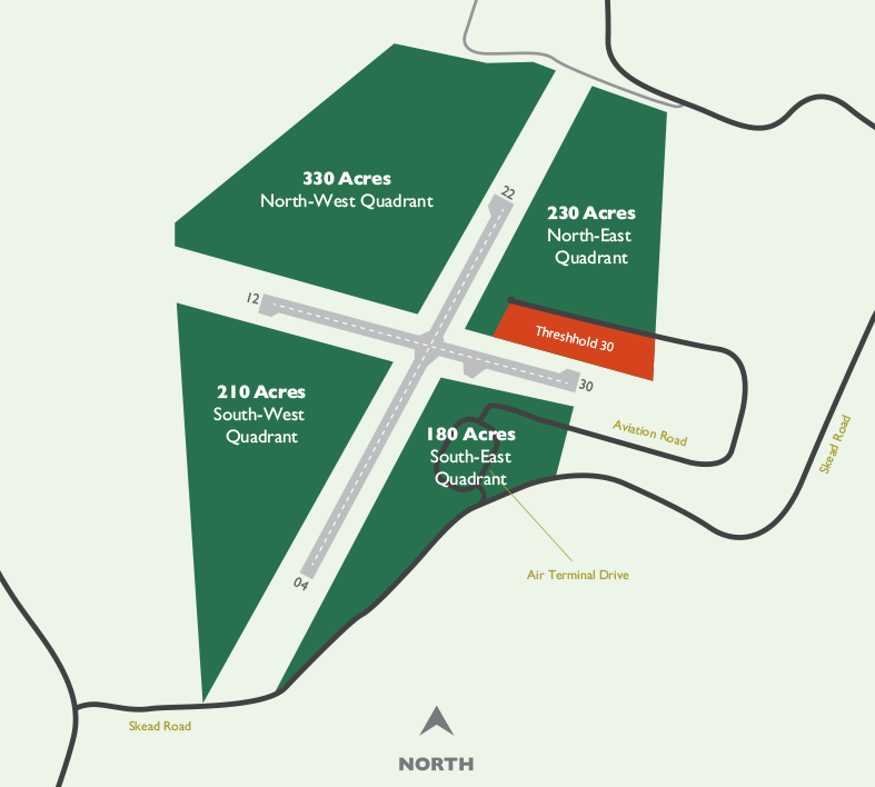 Four quadrants make up the entirety of the property owned by the Sudbury Airport Community Development Corporation.